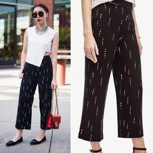 Ann Taylor Stitched Stripe Wide Leg Crop Trousers